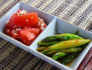 【簡単作り置きレシピ 】 ナムル2種(ネギ塩トマト・ピリ辛アスパラ)