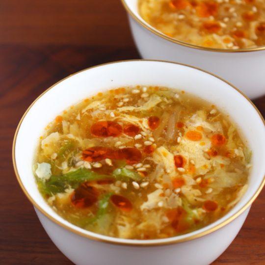 白菜と卵の中華スープ サンラータン風(酸辣湯風)